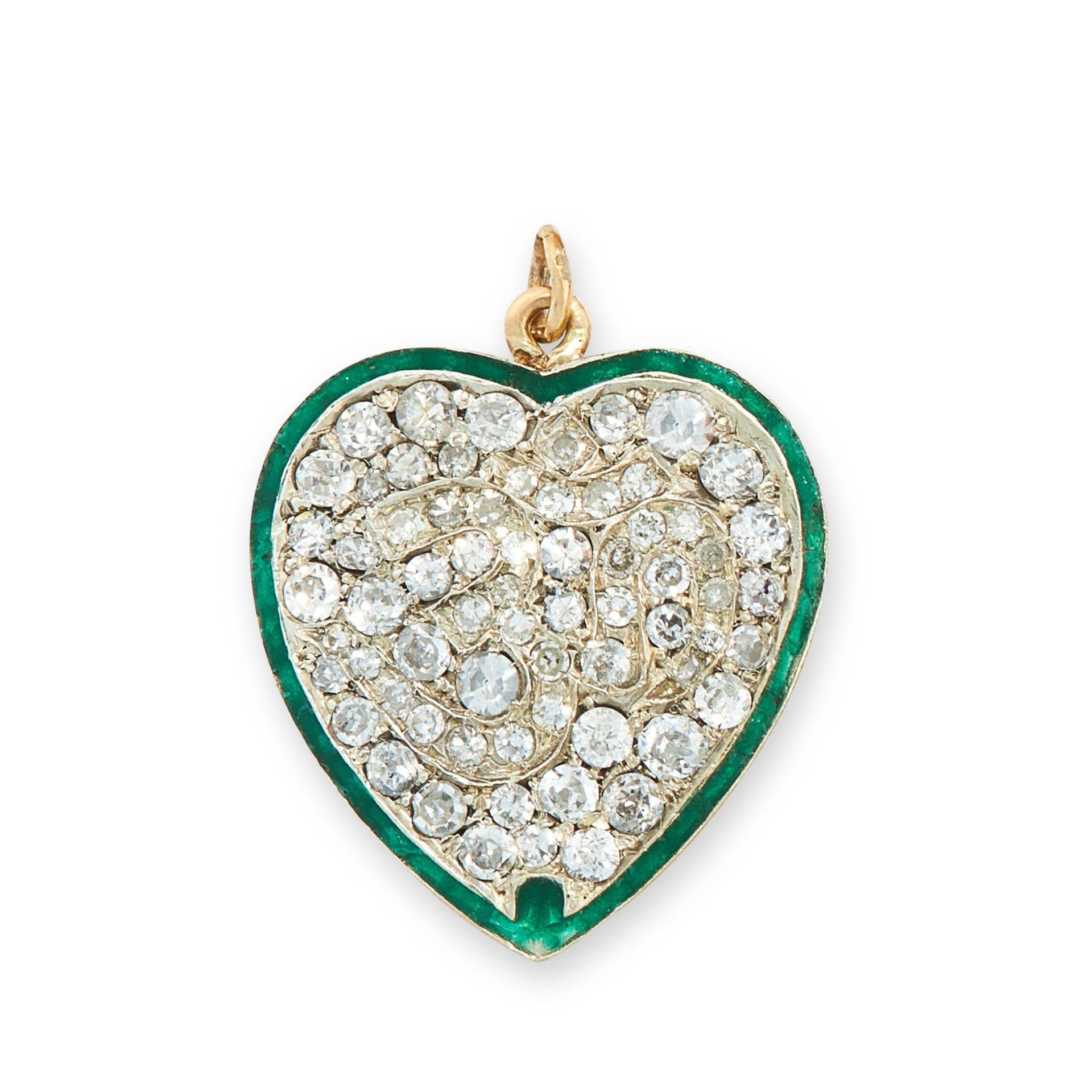 A DIAMOND AND ENAMEL HEART PENDANT in yellow and white gold, set throughout with round cut diamonds,