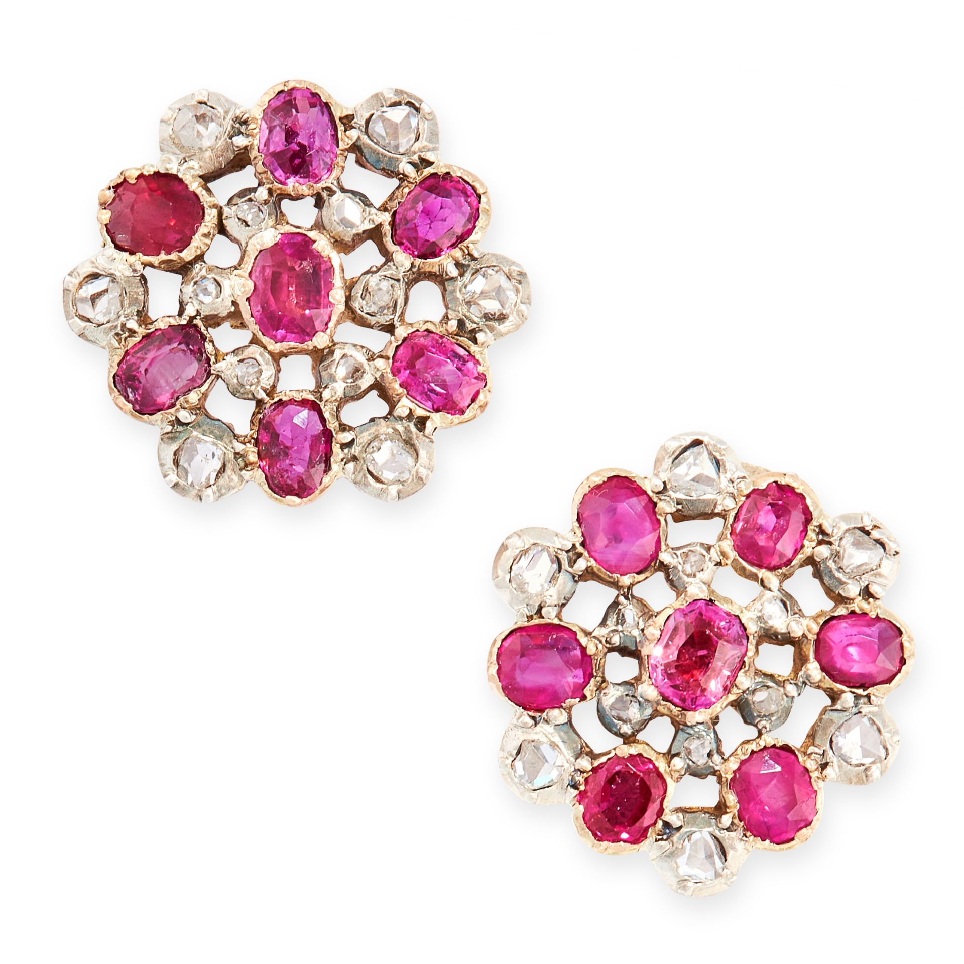A PAIR OF ANTIQUE RUBY AND DIAMOND STUD EARRINGS, 19TH CENTURY in high carat yellow gold and silver,