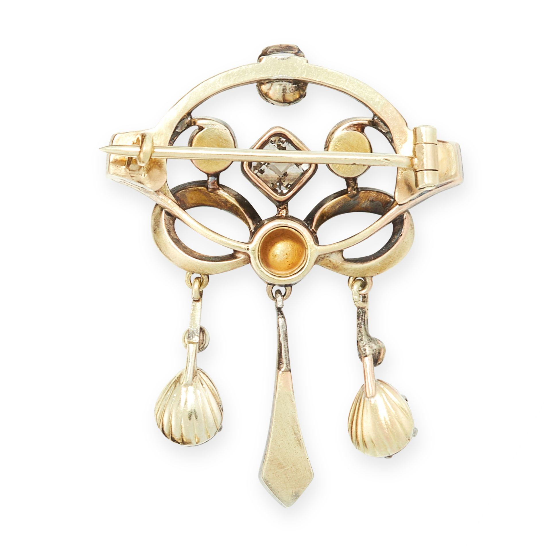 AN ANTIQUE DIAMOND BROOCH, LATE 19TH CENTURY in yellow gold and silver the openwork body jewelled - Image 2 of 2