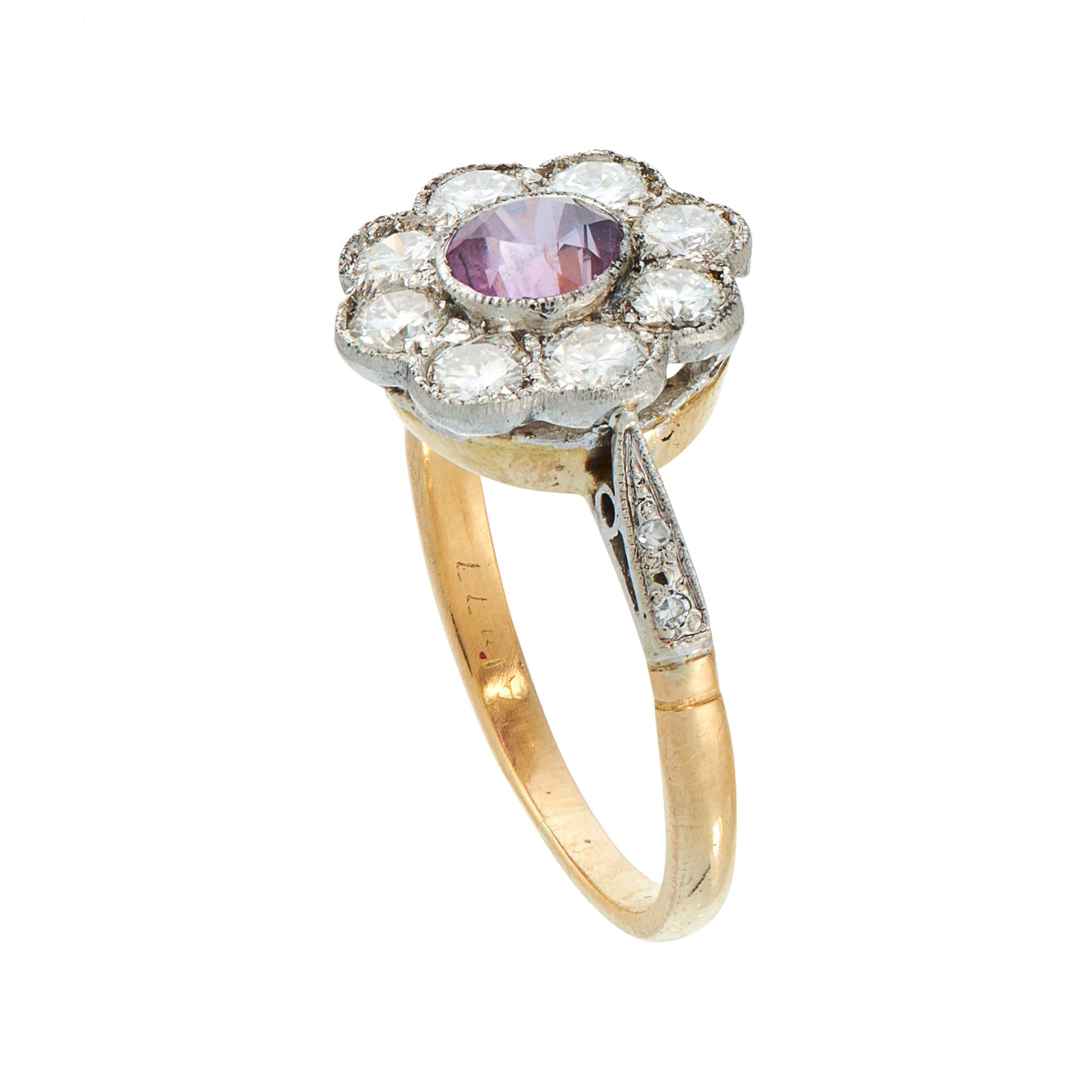 A PINK SAPPHIRE AND DIAMOND DRESS RING in 18ct yellow gold, set with a round cut pink sapphire of - Image 2 of 2