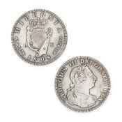 AN IRISH SILVER COIN, Hibernia 1808, Georgius III Dei Gratia Rex, 4.2cm, 26.0g.