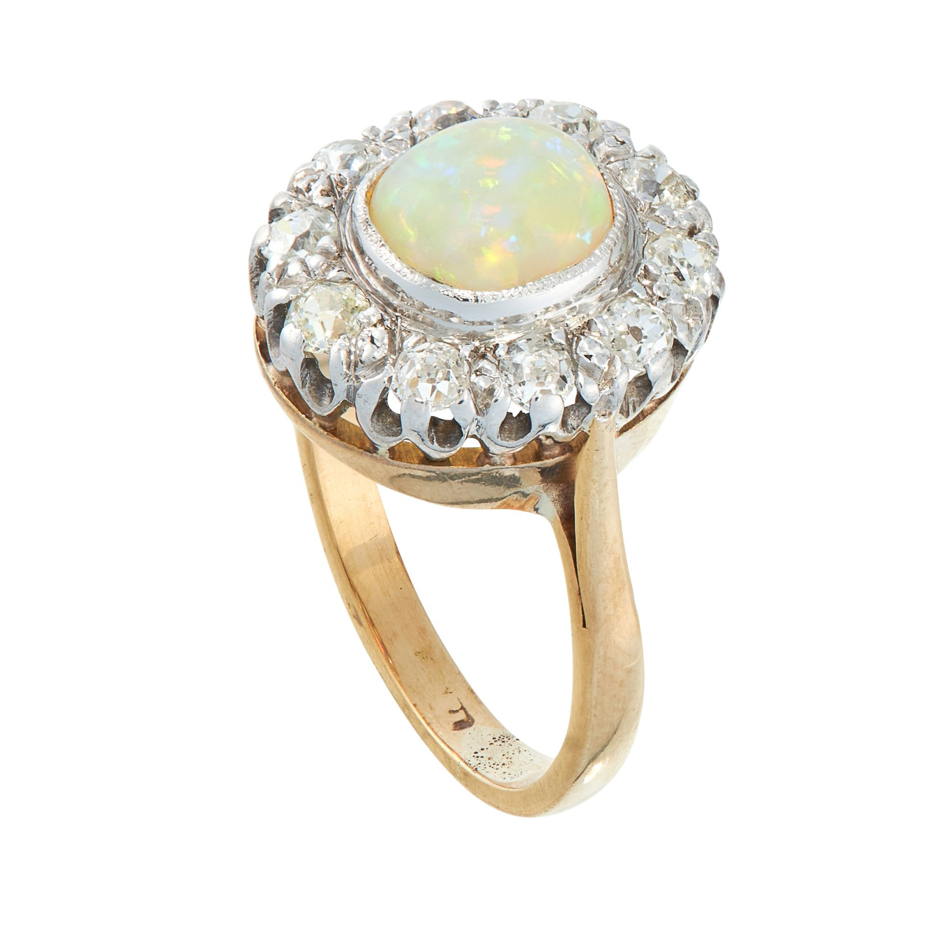 AN OPAL AND DIAMOND DRESS RING in high carat yellow gold, set with an oval cabochon opal of 1.11 - Image 2 of 2