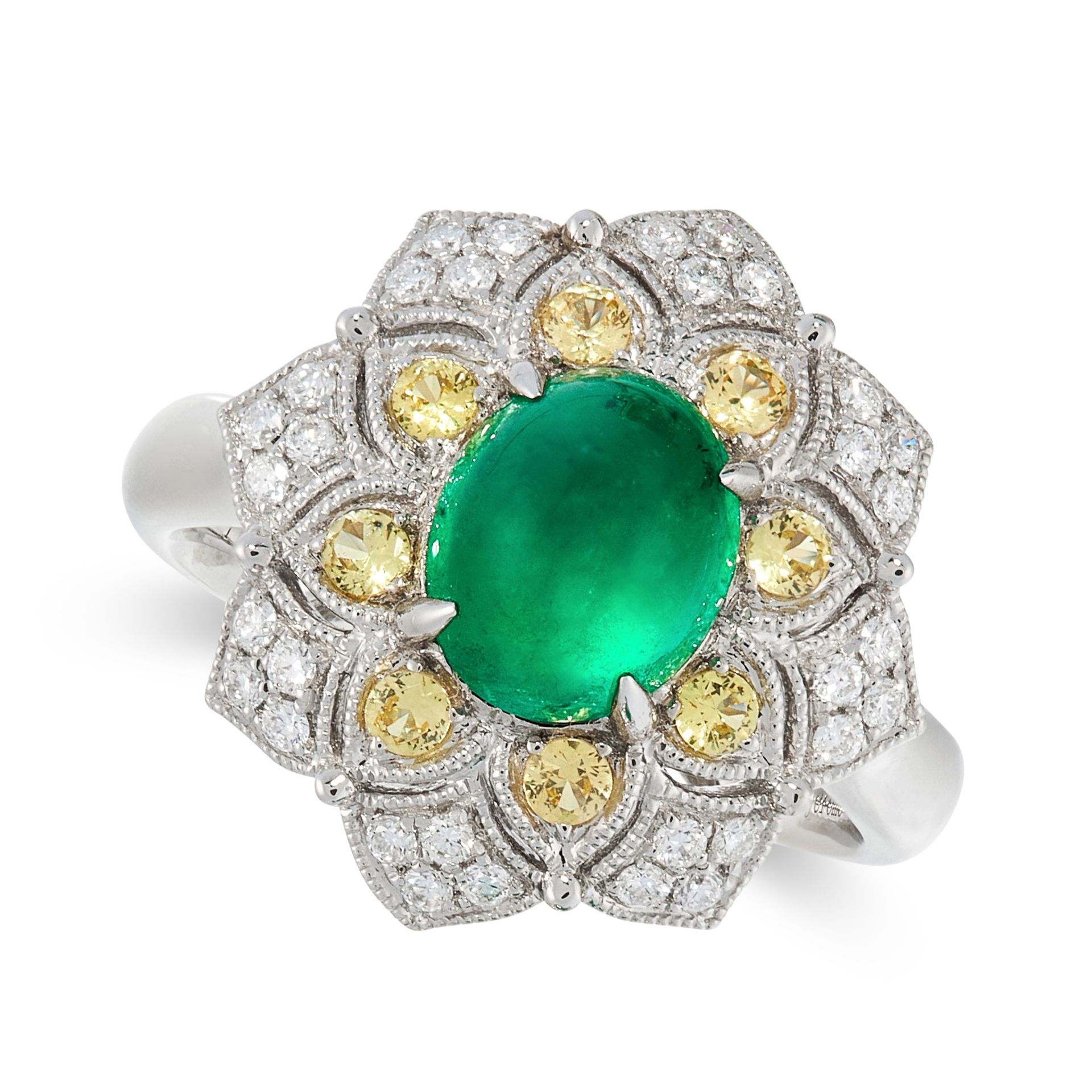 AN UNTREATED COLOMBIAN EMERALD, YELLOW SAPPHIRE AND DIAMOND DRESS RING in platinum, set with a