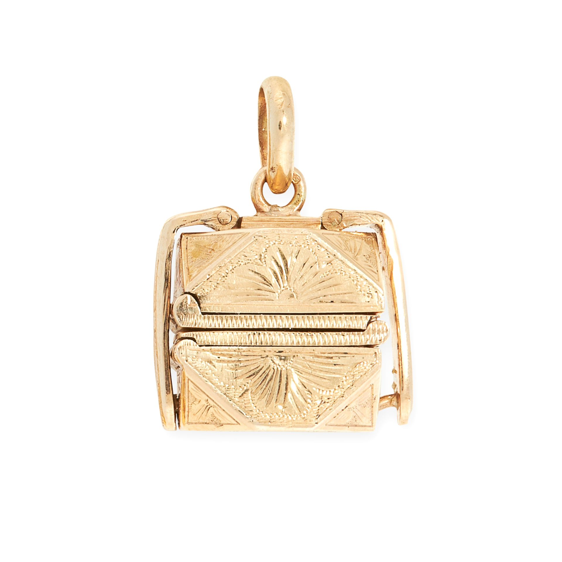 AN ANTIQUE PUZZLE BALL MOURNING LOCKET in yellow gold, the cut cornered square body with engraved