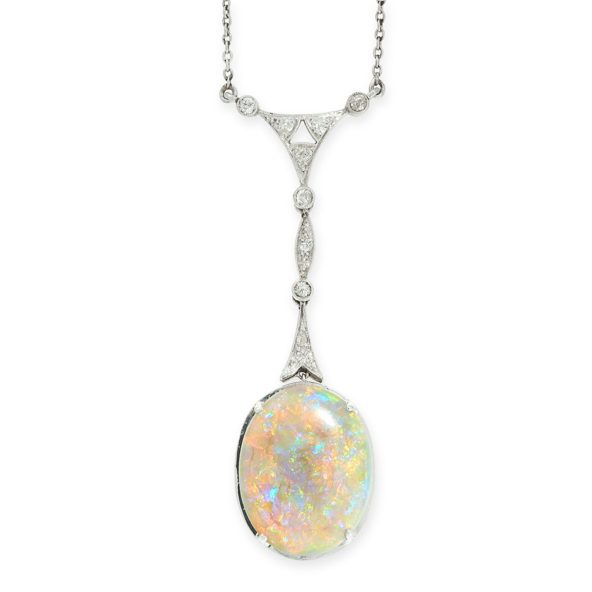AN OPAL AND DIAMOND PENDANT NECKLACE, EARLY 20TH CENTURY set with an oval cabochon opal of 7.12