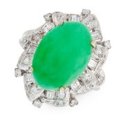 A NATURAL JADEITE JADE AND DIAMOND CLUSTER RING in 18ct white gold, set with a cabochon jadeite jade