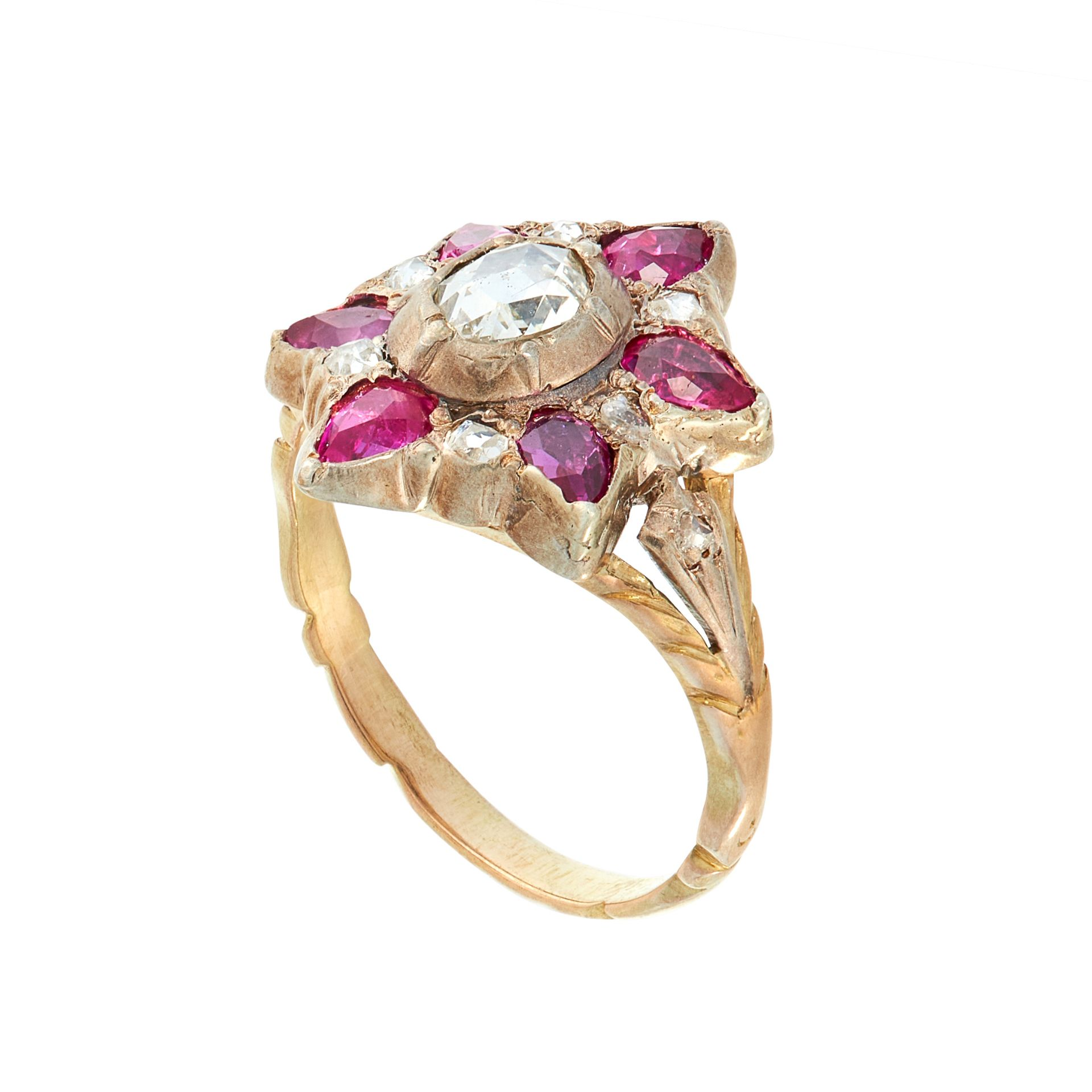 AN ANTIQUE DIAMOND AND RUBY DRESS RING, 19TH CENTURY in yellow gold and silver, set with a central - Image 2 of 2