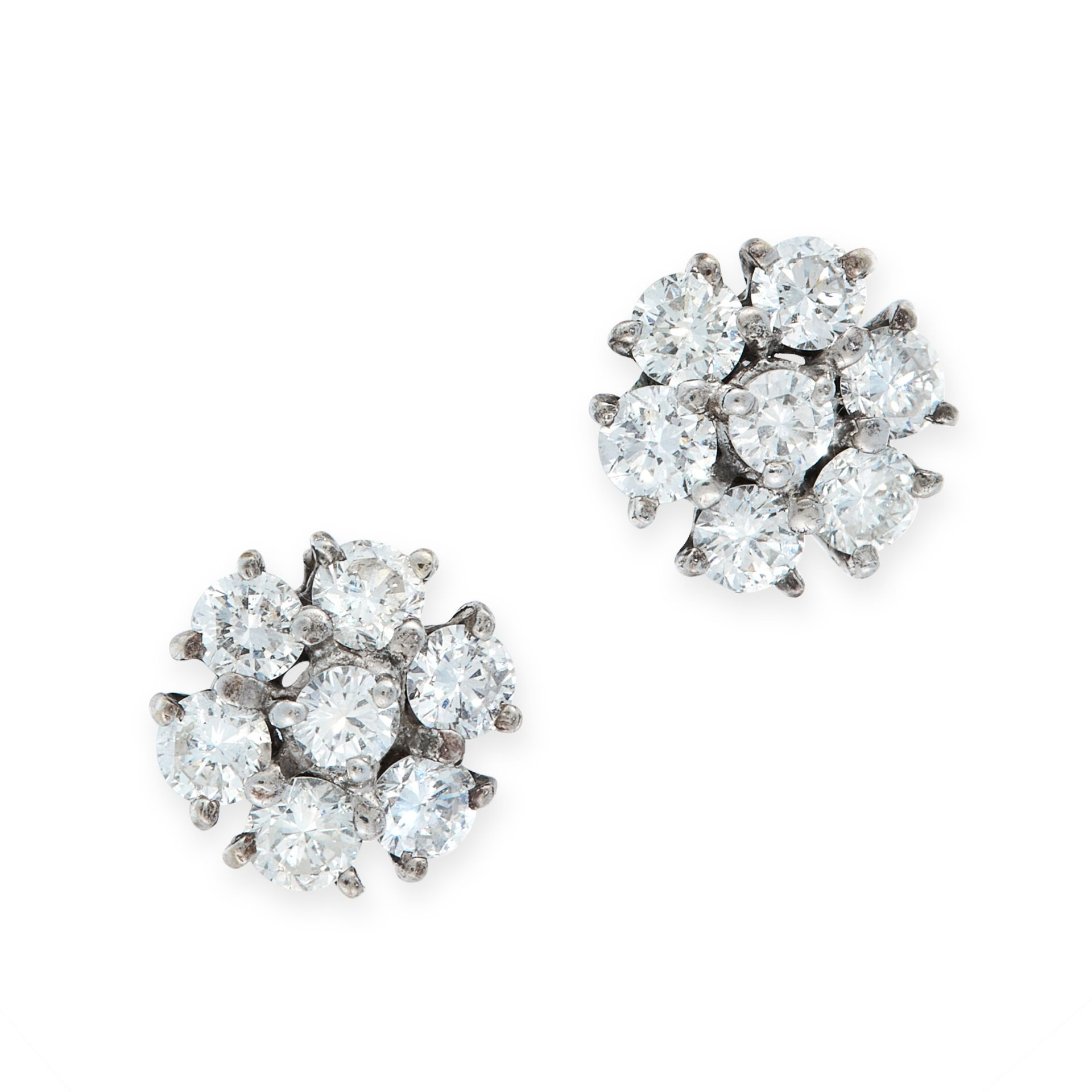 A PAIR OF DIAMOND CLUSTER STUD EARRINGS in 18ct white gold, each set with a cluster of seven round