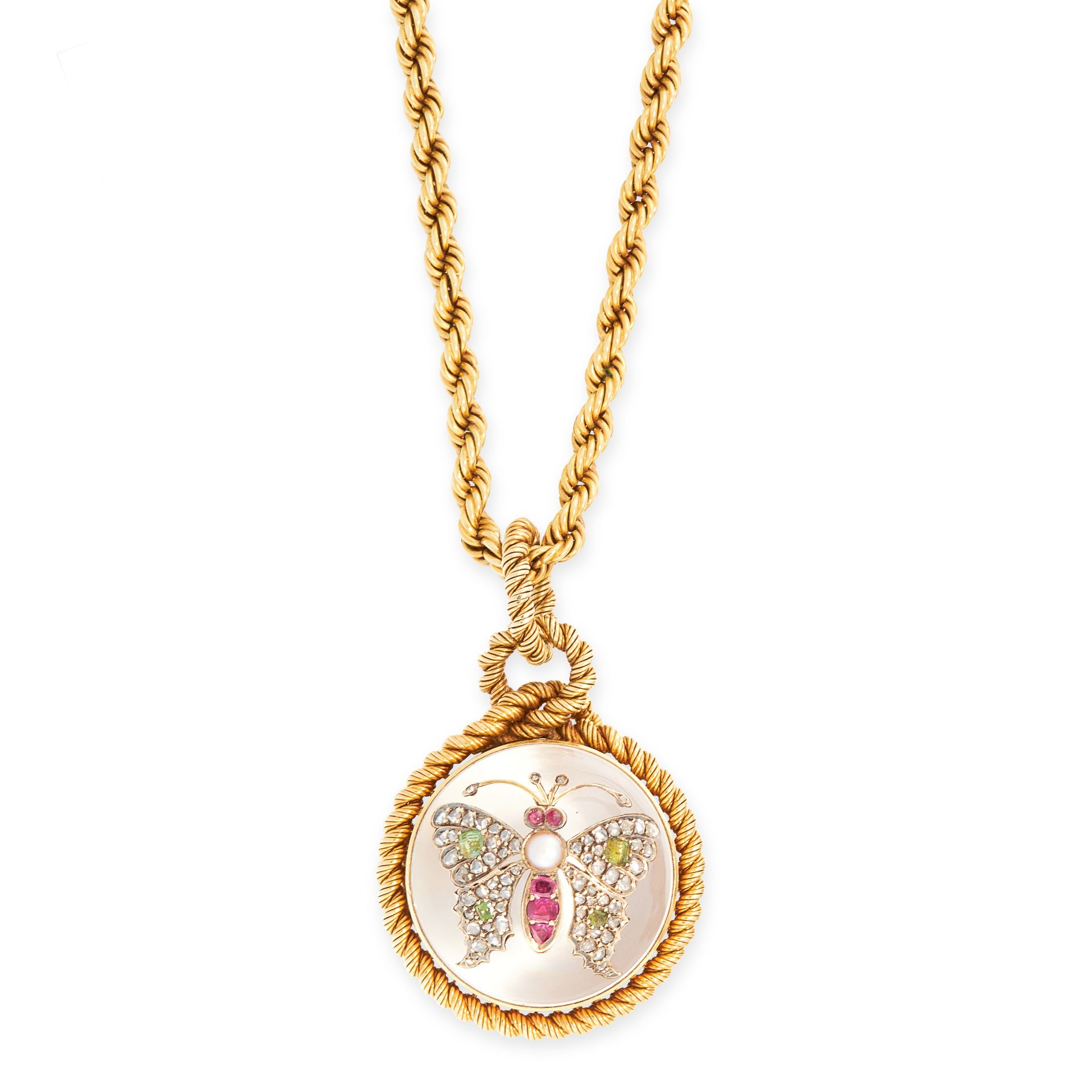 AN ANTIQUE RUBY, PEARL, DIAMOND, CHRYSOLITE AND ROCK CRYSTAL MOURNING LOCKET PENDANT AND CHAIN, 19TH