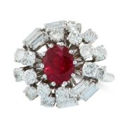 AN UNHEATED RUBY AND DIAMOND CLUSTER RING in 18ct white gold, set with a cushion cut ruby of 1.62