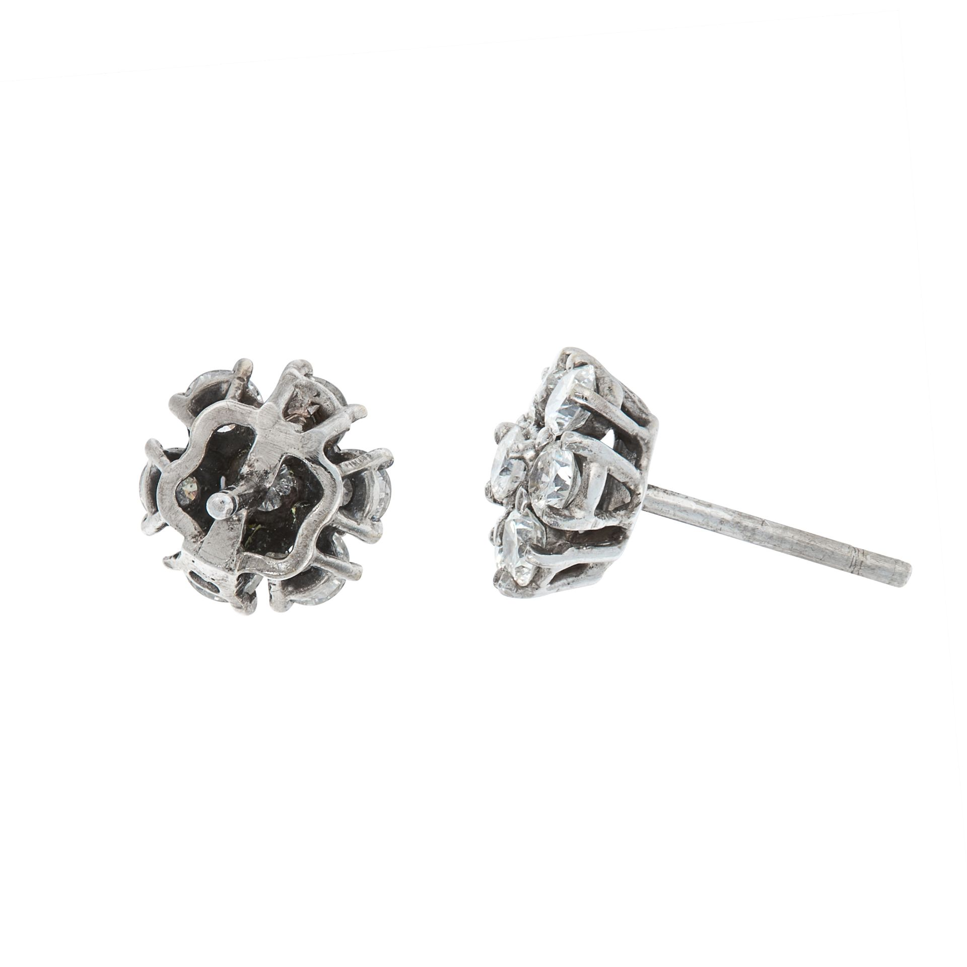 A PAIR OF DIAMOND CLUSTER STUD EARRINGS in 18ct white gold, each set with a cluster of seven round - Image 2 of 2