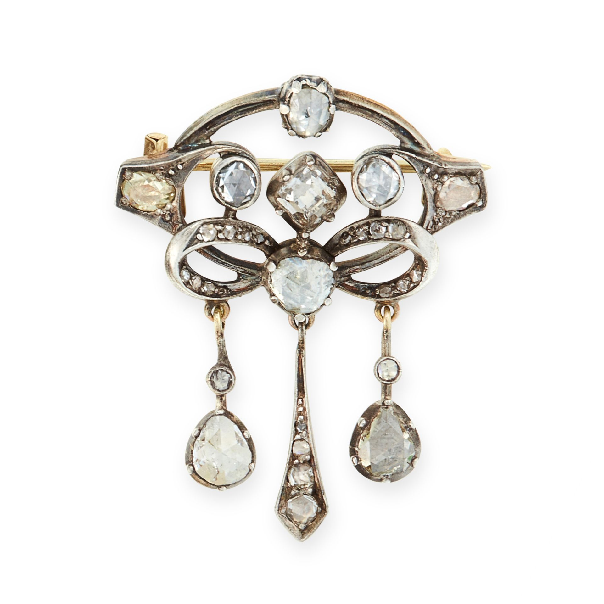 AN ANTIQUE DIAMOND BROOCH, LATE 19TH CENTURY in yellow gold and silver the openwork body jewelled