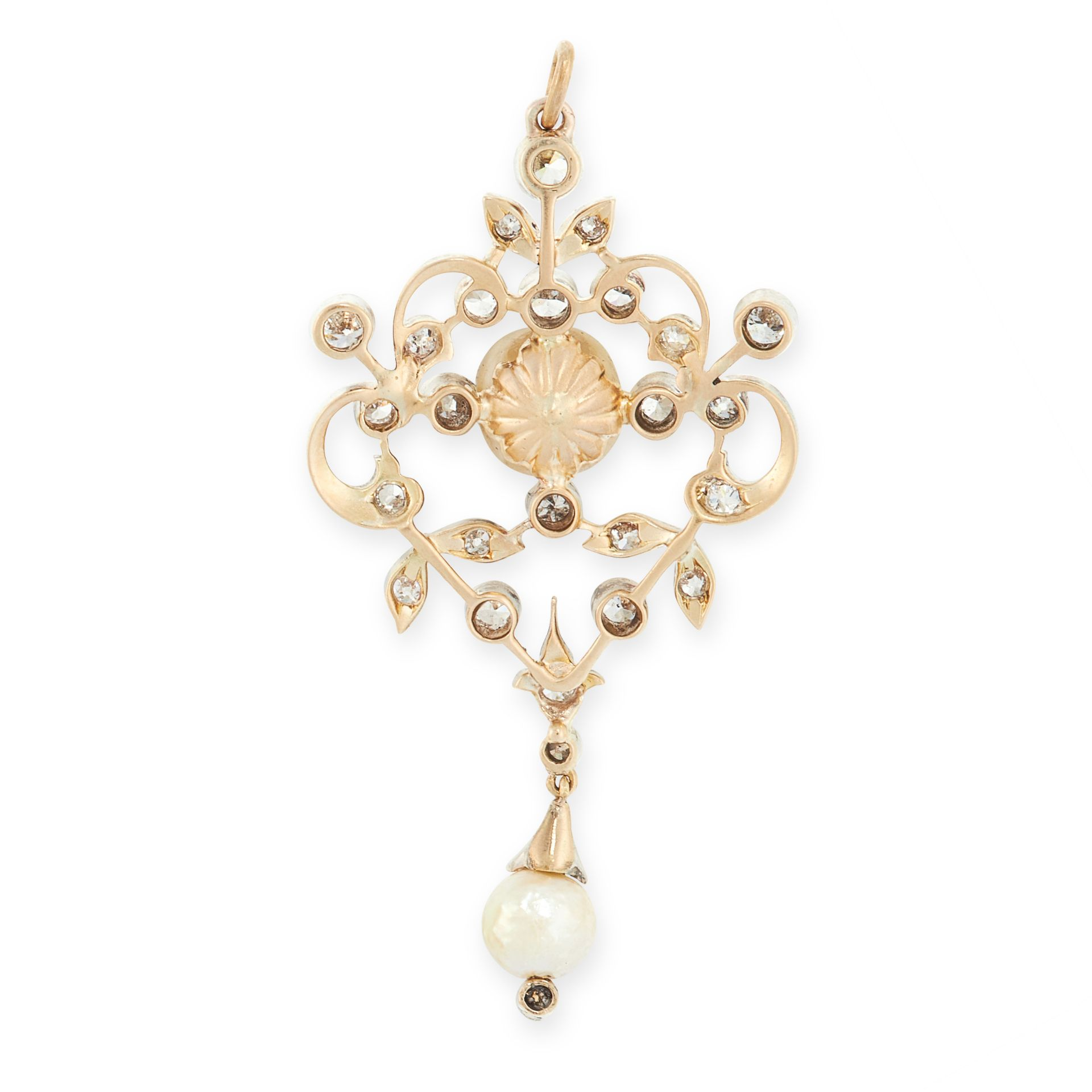 AN ANTIQUE NATURAL PEARL AND DIAMOND PENDANT CIRCA 1900 set with two pearls of 7.90mm and 5.89mm, - Image 2 of 2