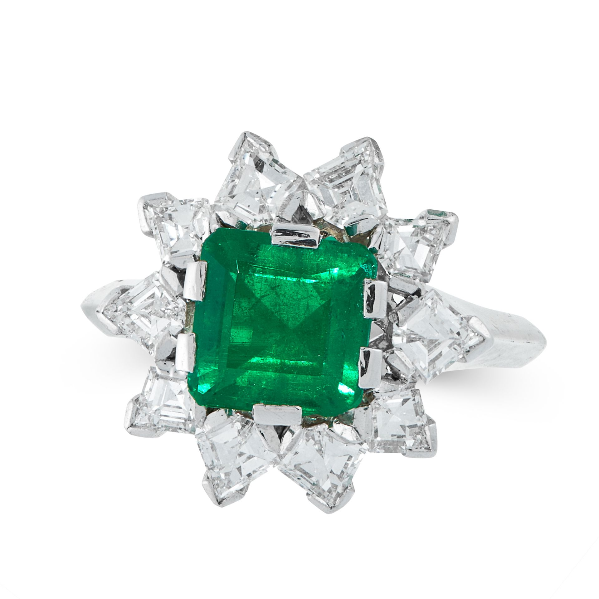 AN EMERALD AND DIAMOND DRESS RING in 18ct white gold, set with an emerald cut emerald of 1.64