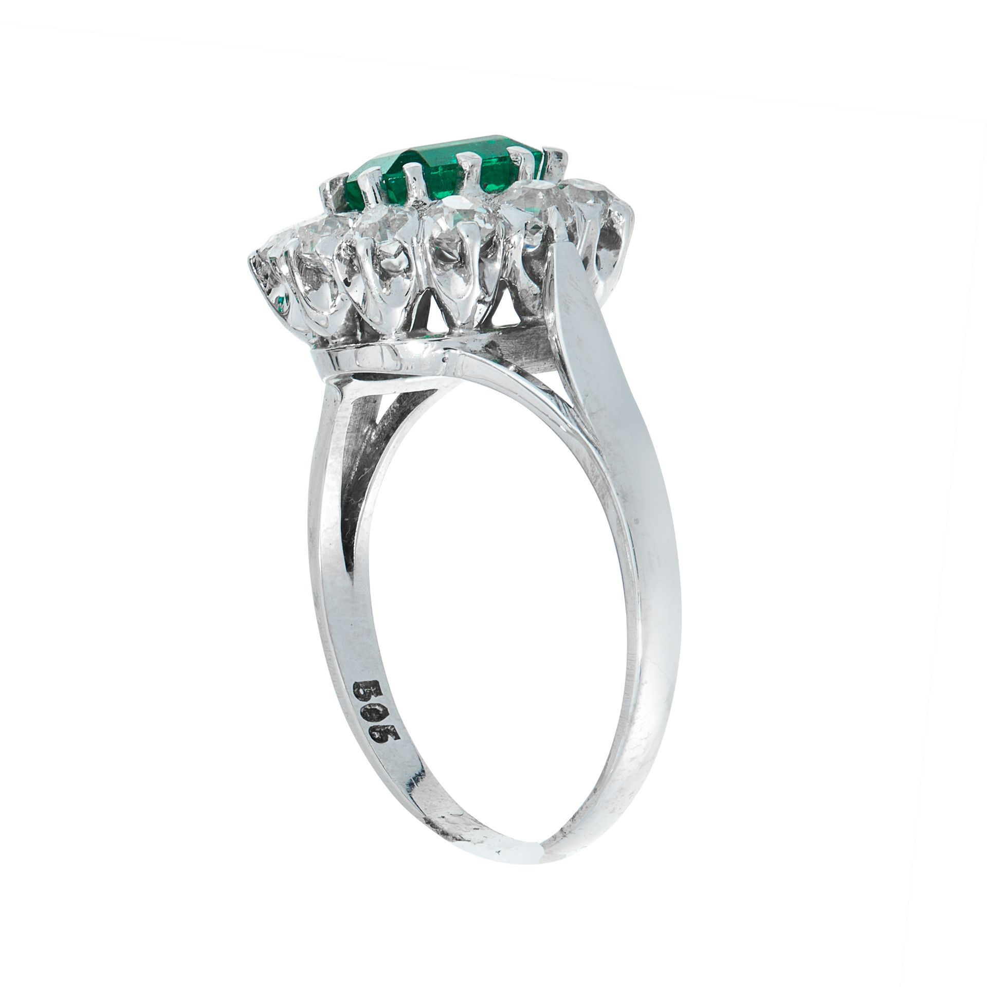 A COLOMBIAN EMERALD AND DIAMOND DRESS RING in 14ct white gold, set with an emerald cut emerald of - Image 2 of 2