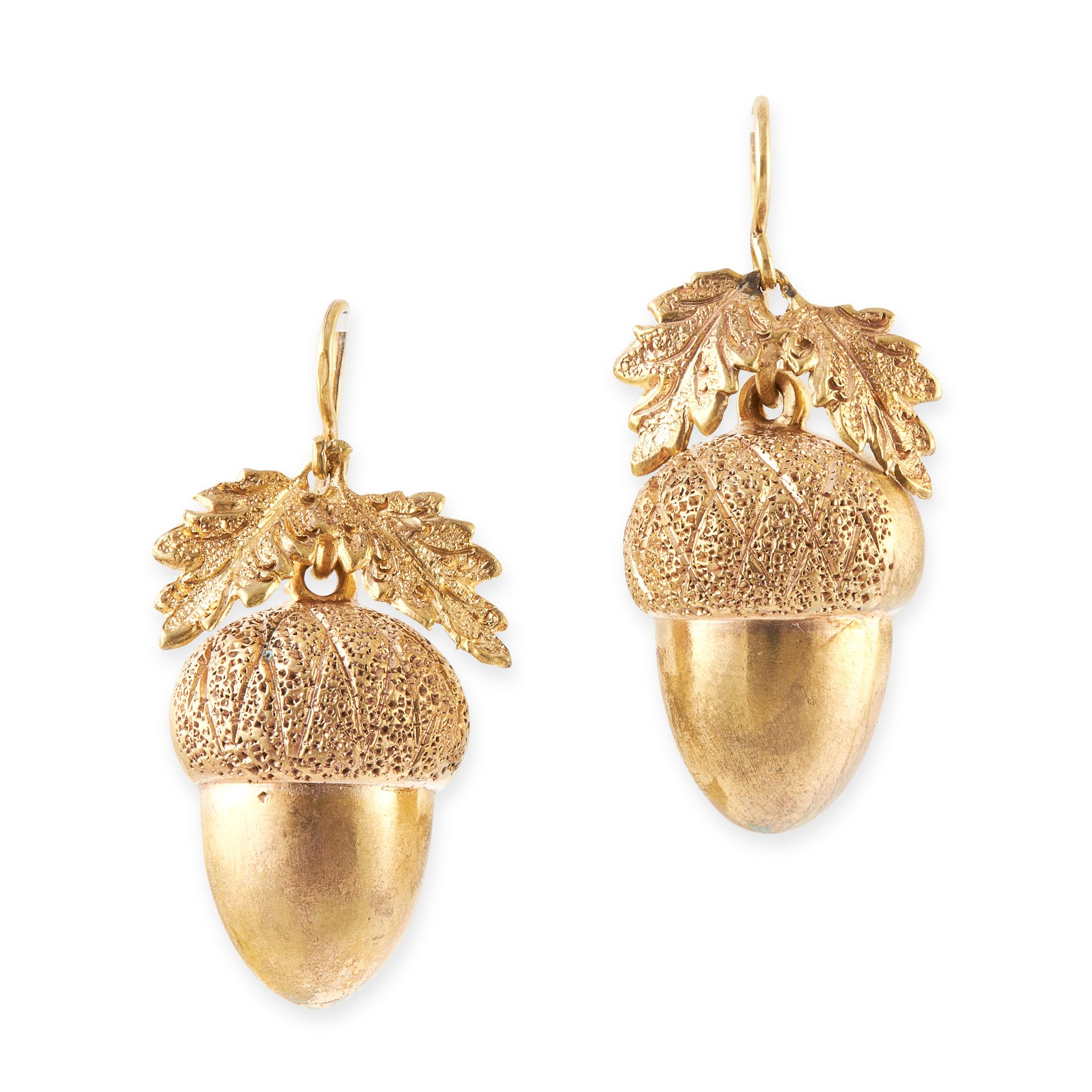 A PAIR OF ANTIQUE ACORN EARRINGS, 19TH CENTURY in yellow gold, each designed as an acorn,