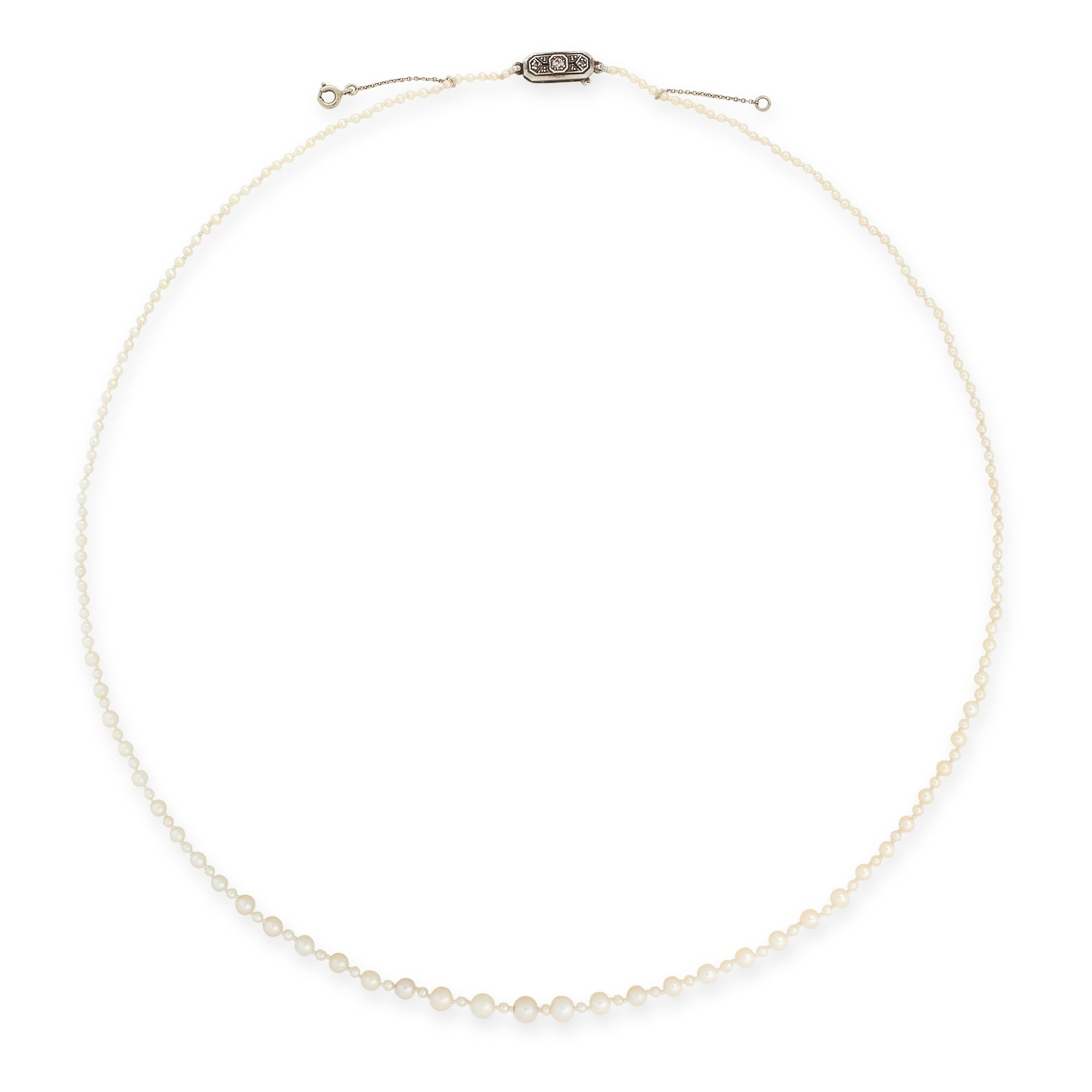 AN ANTIQUE NATURAL PEARL AND DIAMOND NECKLACE comprising a single row of one hundred and eighty