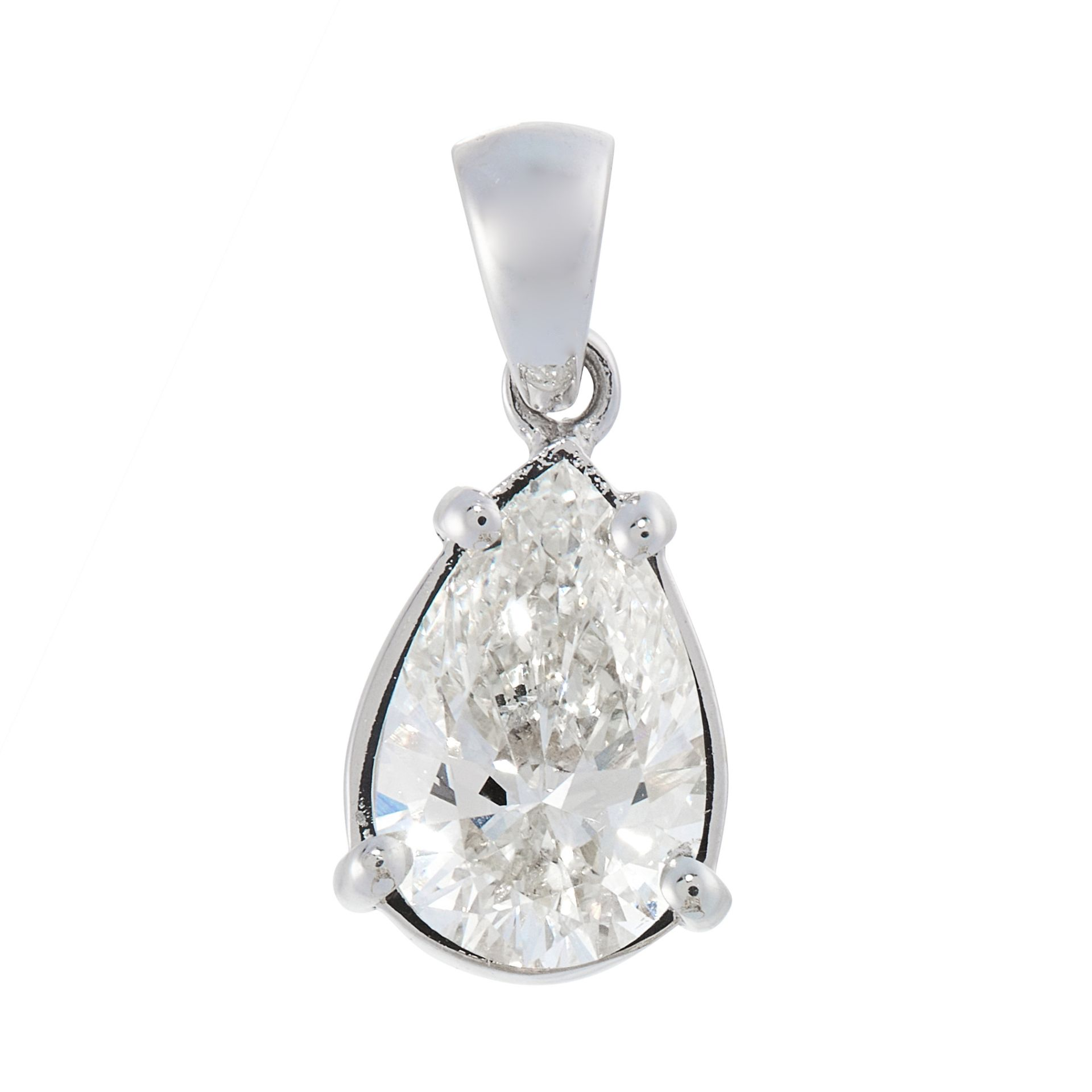 A SOLITAIRE DIAMOND PENDANT in 18ct white gold, set with a pear shaped brilliant cut diamond of 1.10