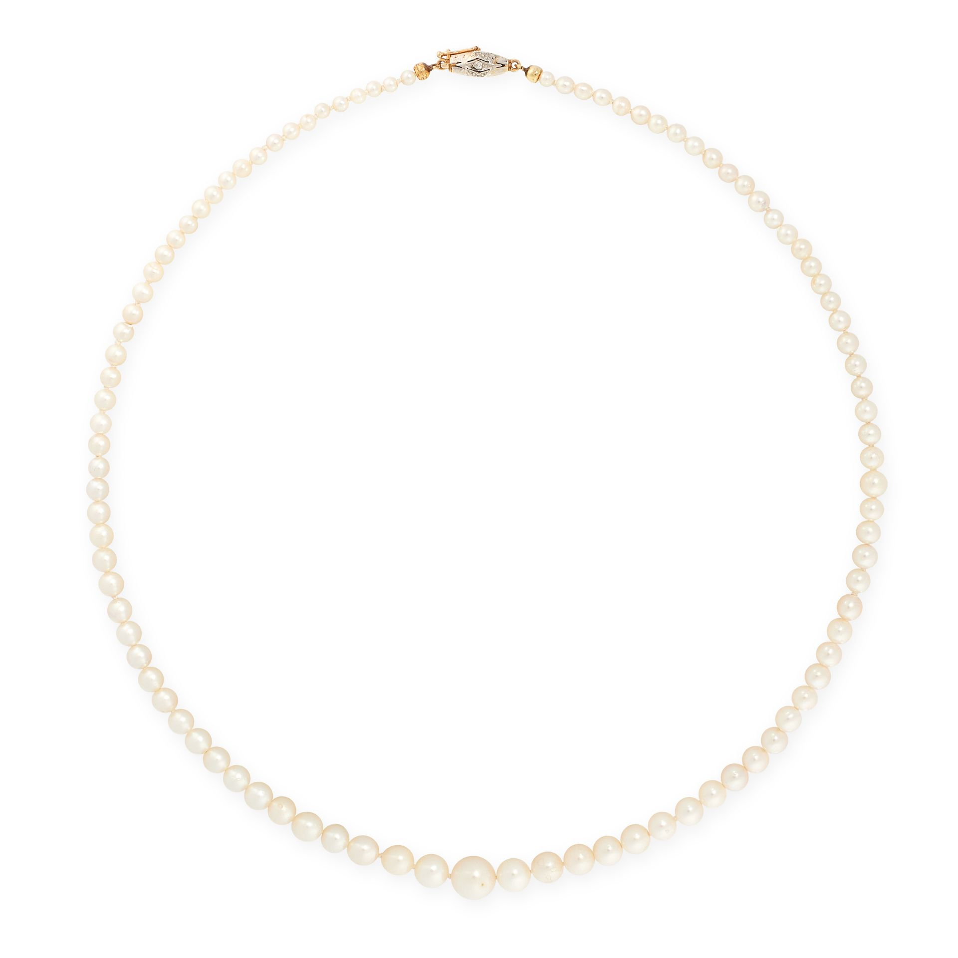 A PEARL AND DIAMOND NECKLACE, 1948 in 18ct yellow gold, comprising a single row of ninety-seven