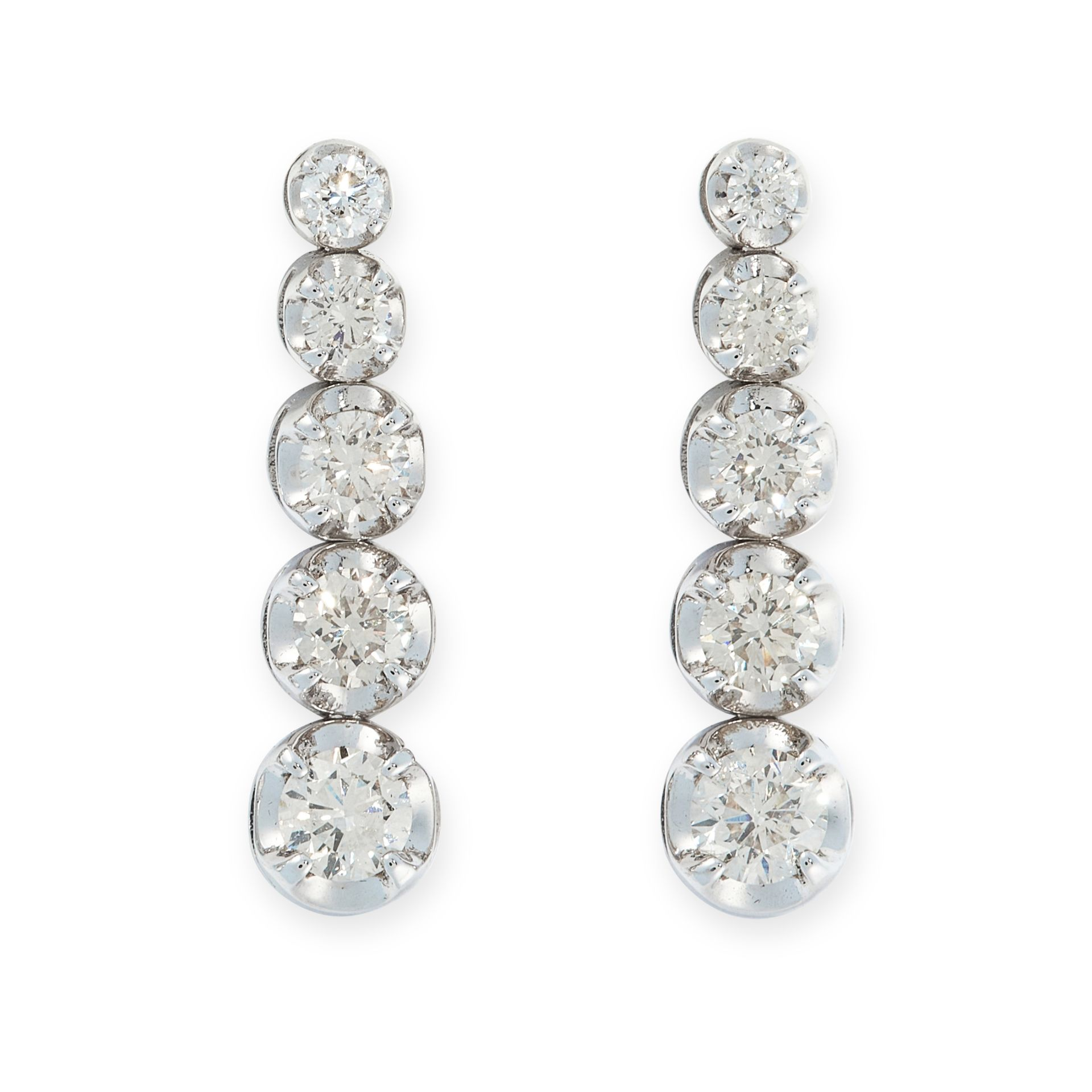 A PAIR OF DIAMOND DROP EARRINGS in 18ct white gold, each designed as a row of five graduated round