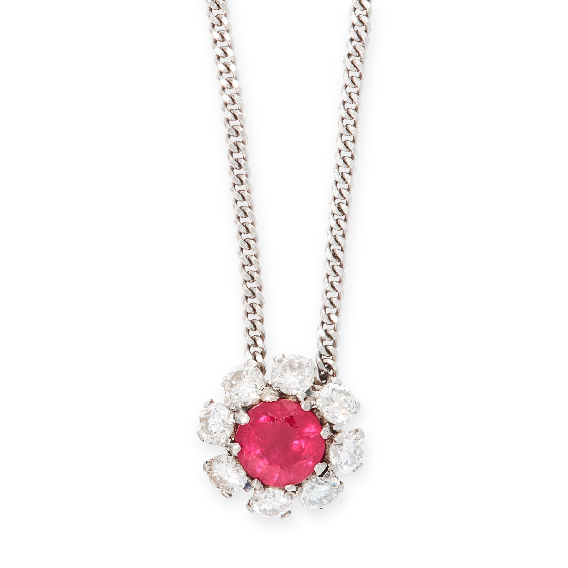 A RUBY AND DIAMOND PENDANT NECKLACE in 18ct white gold, set with a round cut ruby of 1.22 carats