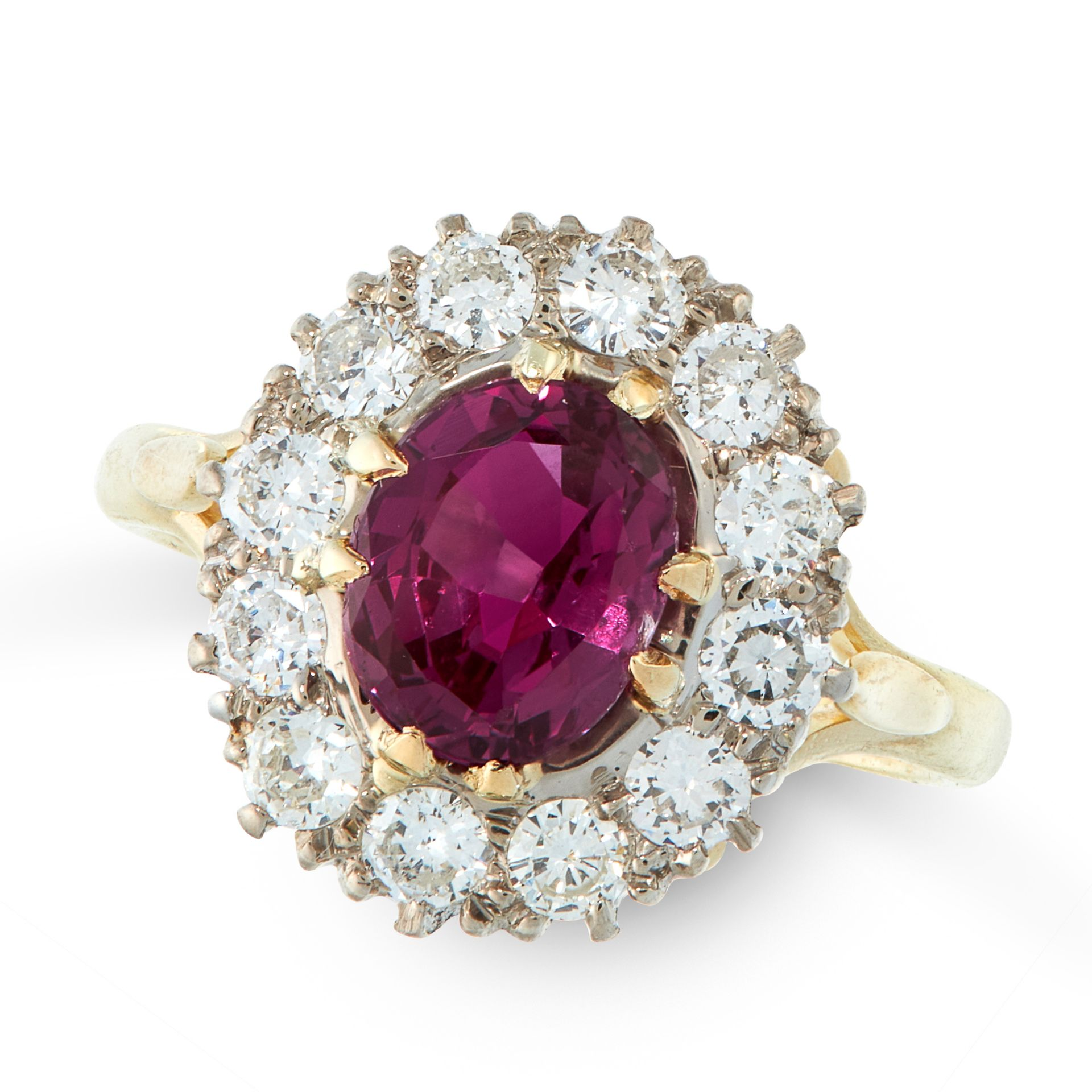 AN UNHEATED RUBY AND DIAMOND DRESS RING in 18ct yellow gold, set with a cushion cut ruby of 1.84