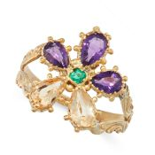 AN ANTIQUE IMPERIAL TOPAZ, AMETHYST AND EMERALD DRESS RING, 19TH CENTURY in yellow gold, set with