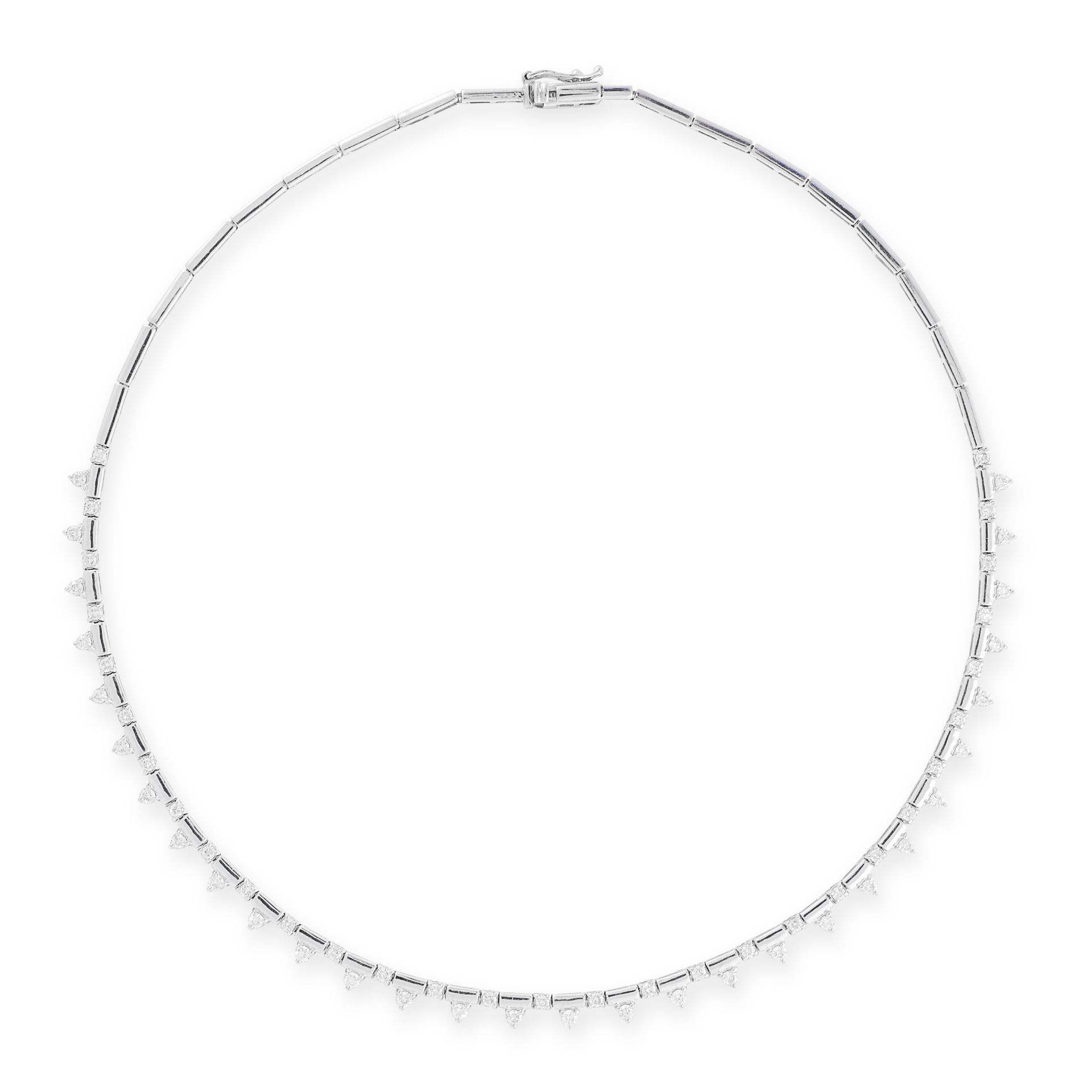 A DIAMOND NECKLACE in 18ct white gold, set with round cut diamonds punctuated by rectangular baton
