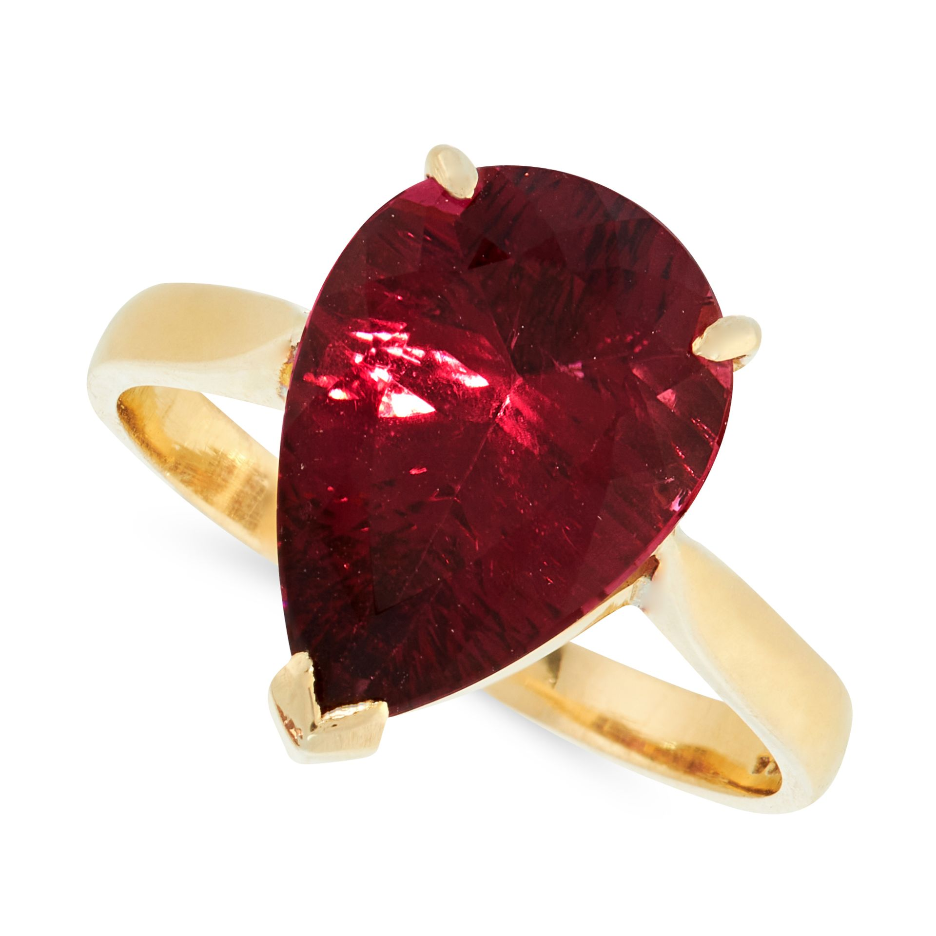 A PINK TOURMALINE DRESS RING in 18ct yellow gold, set with a pear cut pink tourmaline of 5.20