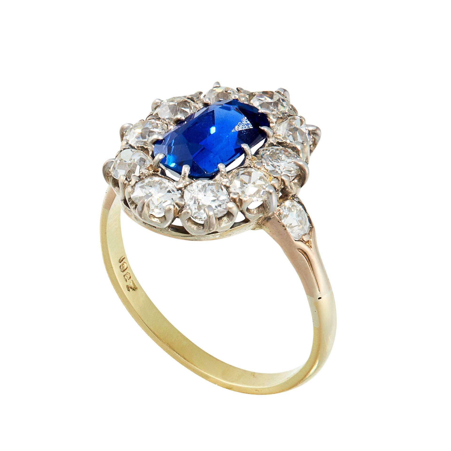 A BURMA NO HEAT SAPPHIRE AND DIAMOND DRESS RING in 18ct yellow gold, set with a cushion cut blue - Image 2 of 2
