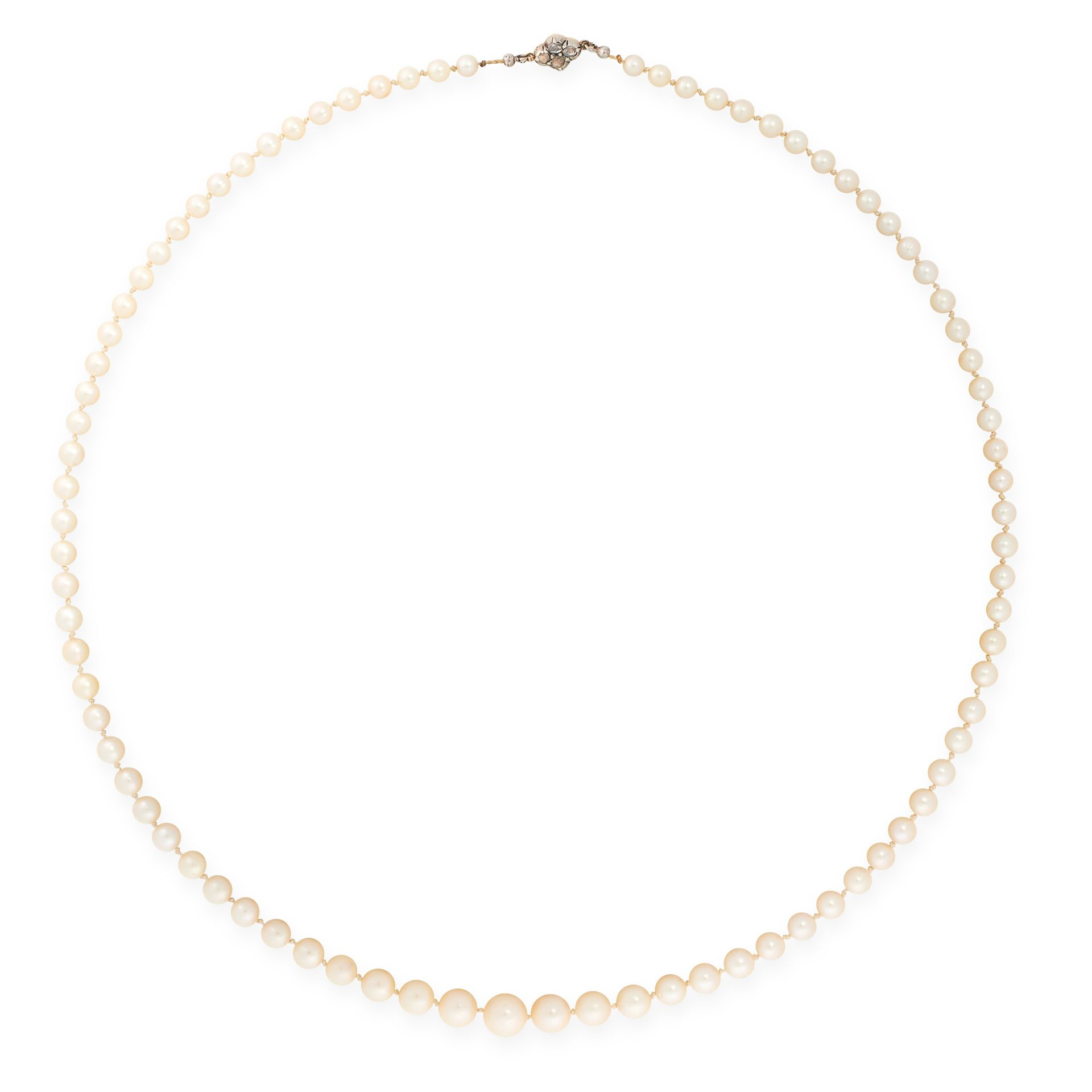 A PEARL AND DIAMOND NECKLACE in 18ct yellow gold and silver, comprising a single row of eighty-