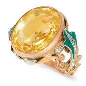 A CEYLON NO HEAT YELLOW SAPPHIRE, DIAMOND AND ENAMEL RING in yellow gold, set with a cushion cut