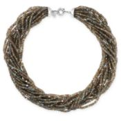 A LABRADORITE TORSADE NECKLACE comprising fifteen rows of graduated labradorite rondelle beads,