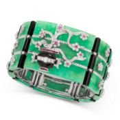 A MAGNIFICENT JADEITE JADE, ONYX, RUBY AND DIAMOND BRACELET, BASTIANELLO ARTE in 18ct white gold, in