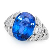 A CEYLON NO HEAT SAPPHIRE AND DIAMOND RING in platinum, set with an oval cut blue sapphire of 6.74