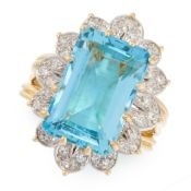 A VINTAGE AQUAMARINE AND DIAMOND DRESS RING, MONTURE CARTIER in high carat yellow gold, set with