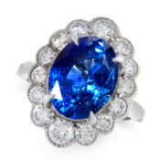 A SAPPHIRE AND DIAMOND DRESS RING in 18ct white gold, set with an oval cut blue sapphire of 6.18
