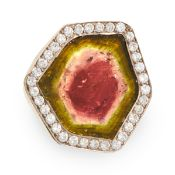 A VINTAGE WATERMELON TOURMALINE AND DIAMOND RING, ANDREW GRIMA 1990 in 18ct yellow gold, set with