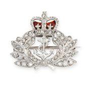 A REGIMENTAL DIAMOND AND ENAMEL ROYAL NAVY SWEETHEART BROOCH, GARRARD & CO 1958 in white gold,