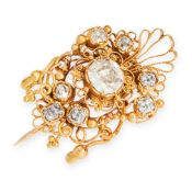 AN ANTIQUE DIAMOND AND HAIRWORK MOURNING LOCKET BROOCH, EARLY 19TH CENTURY in high carat yellow