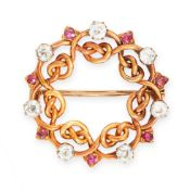 AN ANTIQUE RUBY AND DIAMOND BROOCH, RUSSIAN in yellow gold, in circular design, set with alternating
