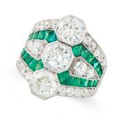 A DIAMOND AND EMERALD DRESS RING, CIRCA 1940 set with three principal old cut diamonds of 0.99, 0.95