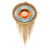 AN ANTIQUE CORAL, PEARL AND ENAMEL MOURNING LOCKET BROOCH / PENDANT, 19TH CENTURY in yellow gold,
