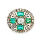 AN ANTIQUE EMERALD AND DIAMOND BROOCH, 19TH CENTURY in yellow gold and silver, set with a central