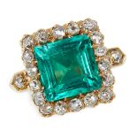 ANTIQUE COLOMBIAN EMERALD AND DIAMOND RING, LATE 19TH CENTURY claw-set with a step-cut emerald