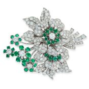 EMERALD AND DIAMOND BROOCH, 1960S designed as a floral bouquet, set with single- and brilliant-cut