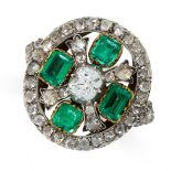 ANTIQUE EMERALD AND DIAMOND RING mounted in yellow gold and silver, set to the centre with an old