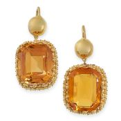 ANTIQUE CITRINE EARRINGS, 19TH CENTURY mounted in yellow gold, each set with a cushion shaped