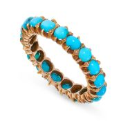 TURQUOISE ETERNITY RING the band designed as a full eternity, claw set all around with a single