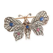 ANTIQUE SAPPHIRE, RUBY AND DIAMOND EN TREMBLANT BUTTERFLY BROOCH, 19TH CENTURY in 18ct yellow gold